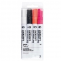 LACKSTIFT - 4 Rotuladors Tinta 2 mm - Paper Poetry - Negro/Blanco/Rosa Fluo/Naranja Fluo
