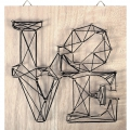 Kit String Art modelo Love forma cuadrado de madera bruto 22x22cm para decorar DIY