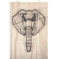 Kit String Art modelo Eléphant rectangular de madera bruto 20x30cm para decorar DIY