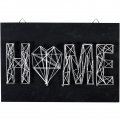 Kit String Art modelo Home rectangular de madera negro 30x20cm para decorar DIY
