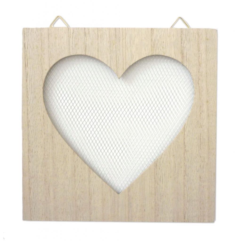 Marco de madera con alambre a personalizar - 20 x 20 cm - Corazón ...